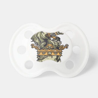 vintage lion on dead skull baby pacifiers