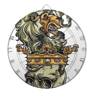 vintage lion on dead skull dartboard
