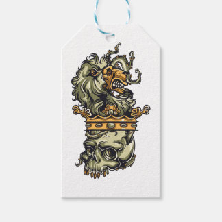 vintage lion on dead skull gift tags