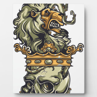 vintage lion on dead skull plaque