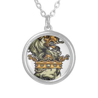 vintage lion on dead skull silver plated necklace