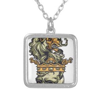 vintage lion on dead skull silver plated necklace