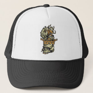 vintage lion on dead skull trucker hat