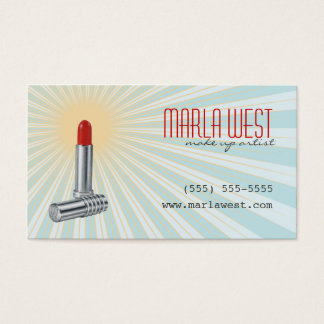 Vintage Lipstick Retro Makeup Artist Business Card