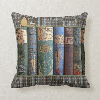 Vintage Literary Book Collector Cat Throw Pillow