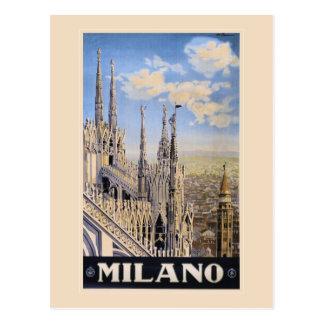 Vintage Litho Travel ad Milan Italy Postcard