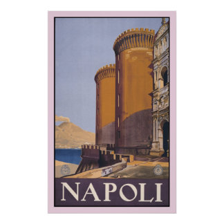 Vintage Litho Travel ad Naples Italy Poster