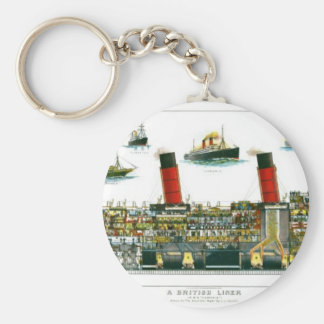 Vintage Lithograph British Ocean Liner RMS Caronia Basic Round Button Keychain