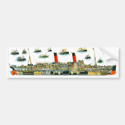 Vintage Lithograph British Ocean Liner RMS Caronia Bumper Stickers
