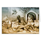Vintage Lithograph of animals. Card