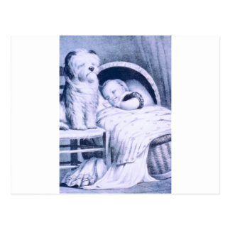 Vintage Lithograph with baby and pet Postcard
