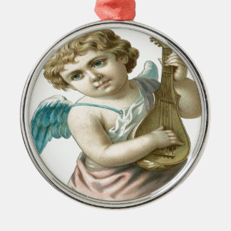 Vintage, Little Angel Playing Guitar Silver-Colored Round Ornament