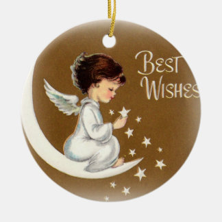 Vintage Little Angel with Stars Ornament