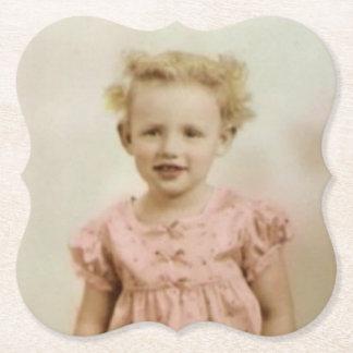Vintage little blonde girl in pink dress coaster