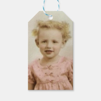Vintage little blonde girl in pink dress gift tag