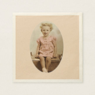 Vintage little blonde girl in pink dress napkins disposable napkin