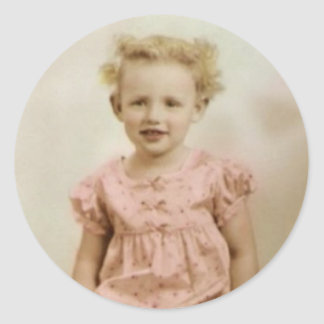Vintage little blonde girl in pink dress stickers