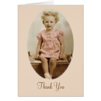 Vintage little blonde girl in pink dress Thank You Card