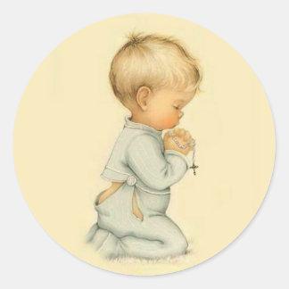 Vintage Little Boy Praying Rosary Classic Round Sticker