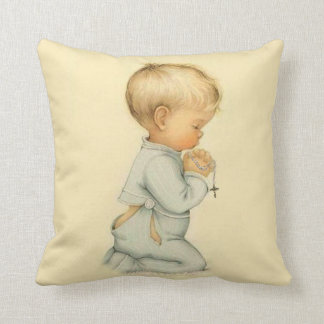 Vintage Little Boy praying the Rosary Throw Pillow