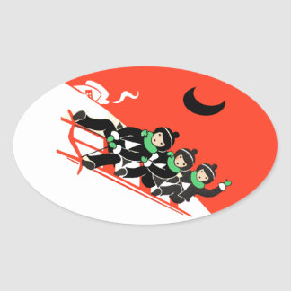 Vintage Little Boys Sledding Snow Moon House Oval Sticker