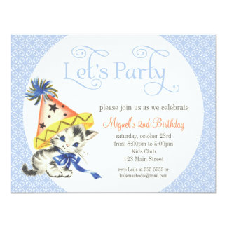 Vintage Little Cat with Party Hat Birthday Party Card