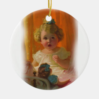 Vintage Little Girl and Doll Ornament