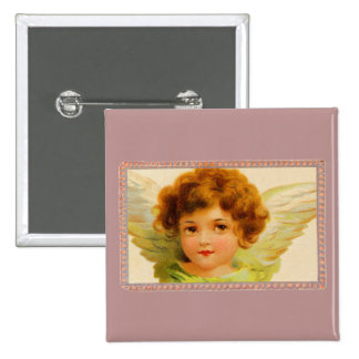 Vintage Little Girl Angel in Frame 2 Inch Square Button