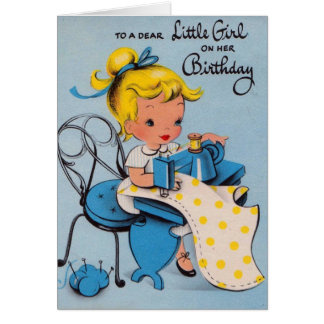 Vintage Little Girl Birthday Card