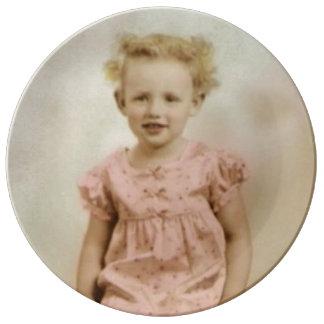 Vintage little girl in pink dress porcelain plate
