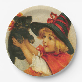 Vintage Little Girl in Wicth Hat and Black Kitten Paper Plate