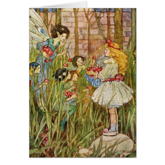 Vintage - Little Girl Meets Fairies, Card