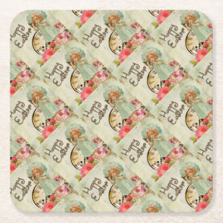 Vintage Little Girl on Phone Floral Happy Easter Square Paper Coaster