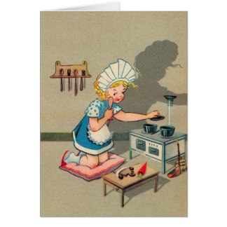 Vintage Little Girl Playing House Note Card