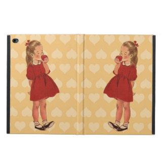 Vintage Little Girl Red Dress Apple