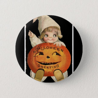 Vintage Little Girl with Big Halloween Pumpkin 2 Inch Round Button