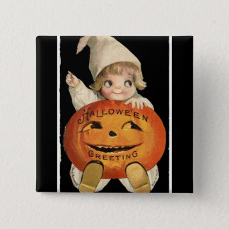 Vintage Little Girl with Big Halloween Pumpkin 2 Inch Square Button