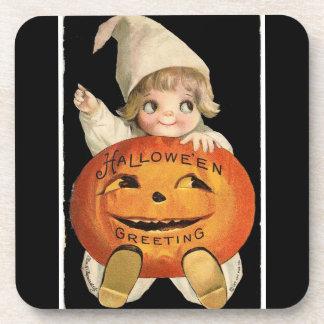 Vintage Little Girl with Big Halloween Pumpkin Beverage Coaster