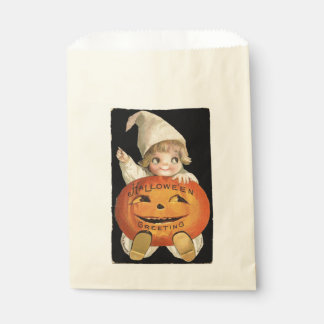 Vintage Little Girl with Big Halloween Pumpkin Favour Bag