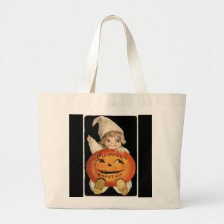 Vintage Little Girl with Big Halloween Pumpkin Large Tote Bag