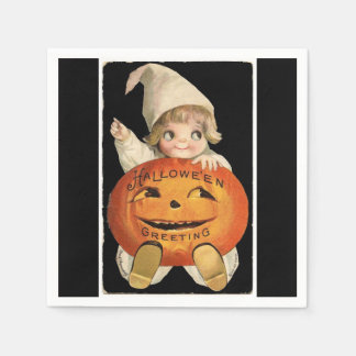 Vintage Little Girl with Big Halloween Pumpkin Paper Napkins