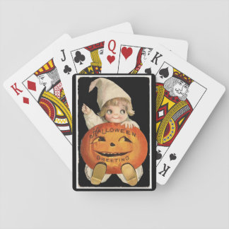 Vintage Little Girl with Big Halloween Pumpkin Playing Cards