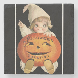 Vintage Little Girl with Big Halloween Pumpkin Stone Coaster