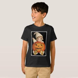 Vintage Little Girl with Big Halloween Pumpkin T-Shirt