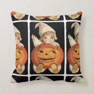Vintage Little Girl with Big Halloween Pumpkin Throw Pillow