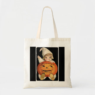 Vintage Little Girl with Big Halloween Pumpkin Tote Bag