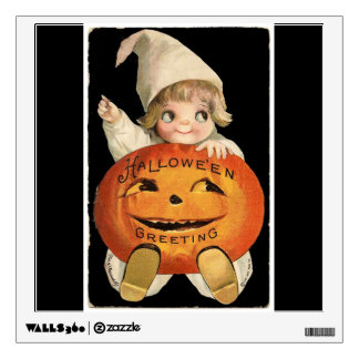 Vintage Little Girl with Big Halloween Pumpkin Wall Decal