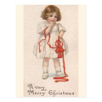 Vintage Little Girl With Christmas Ribbon Postcard
