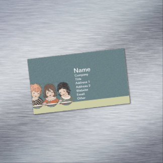 Vintage Little Girls Eating Soup Three Sisters Magnetic Business Card