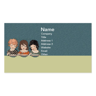 Vintage Little Girls Eating Soup Three Sisters Pack Of Standard Business Cards